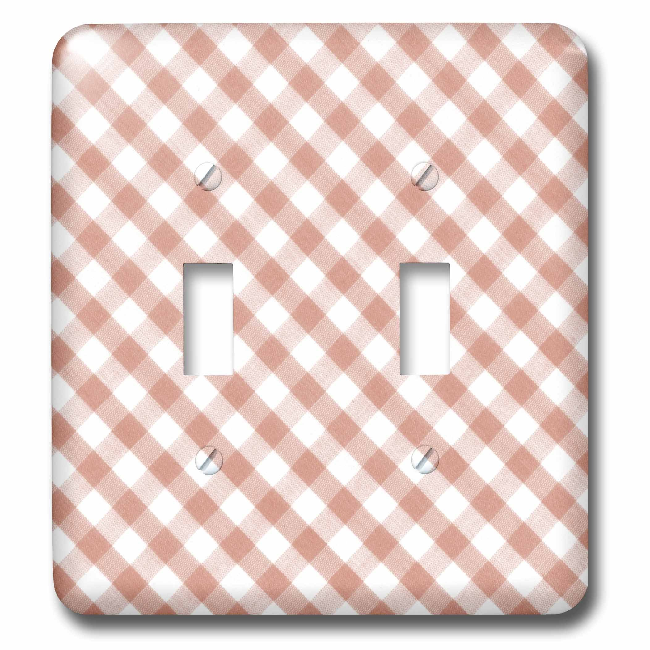 3dRose lsp_113026_2 Brown and White Gingham Pattern Traditional Checkered Rustic Checks Retro Country Kitchen Dining Double Toggle Switch