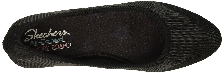 Skechers Women's Cleo-Bam-Engineered Knit Skimmer Ballet Flat B079HMK4F9 8.5 B(M) US|Black/Charcoal