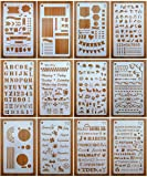 Journal Stencils, Journal Planner Stencils Set 12 Pack for A5 Notebook & Most Journals, Includes Letter Stencil, Number…