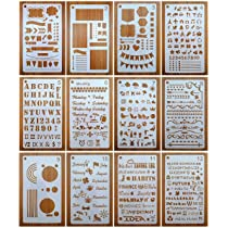 Number Stencils Drawing Stencils Charts Mengcube Journal Stencils Includes Letter Stencil Icons Shapes for Bujo Journal Planner Stencils Set 12 Pack for A5 Notebook /& Most Journals