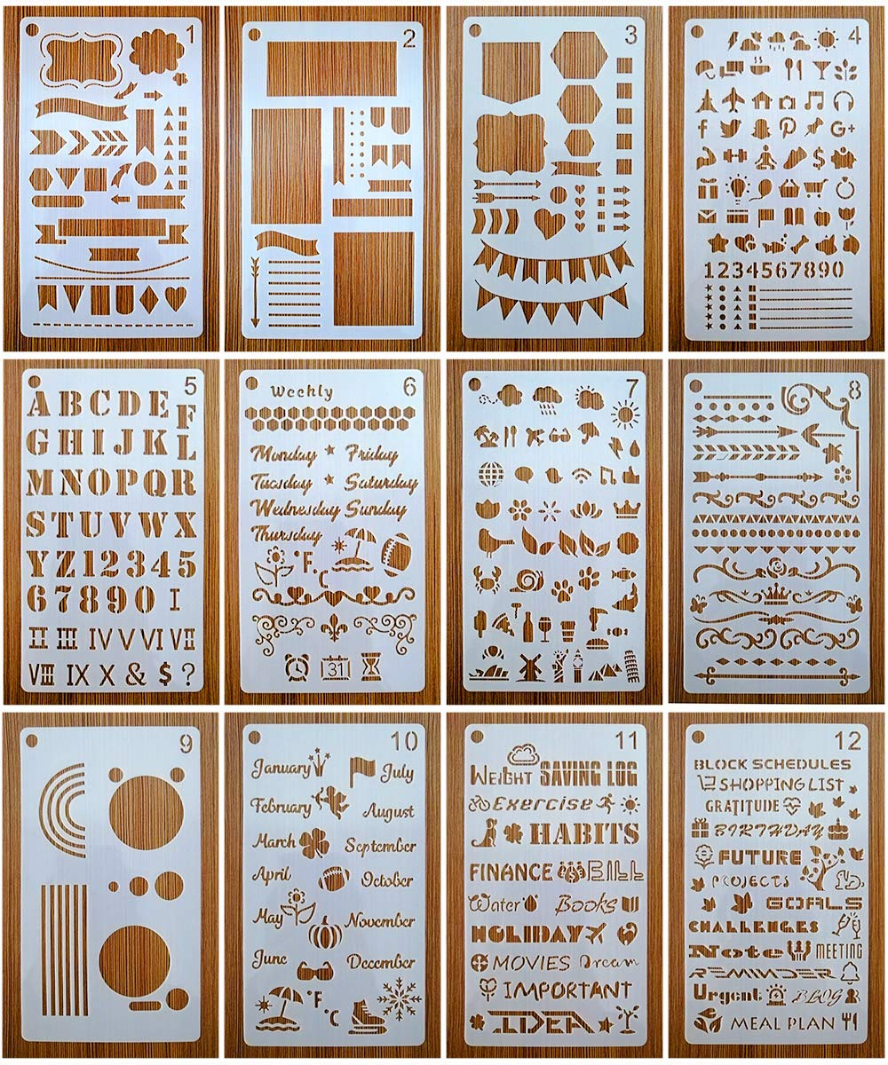 Bullet Stencils Set, Journal Planner Stencils 12 Pack for A5 Notebook & Most Journals, Includes Letter Stencil, Number Stencils, Drawing Stencils, Icons, Charts, Shapes & More Templates for Bujo by Mengcube