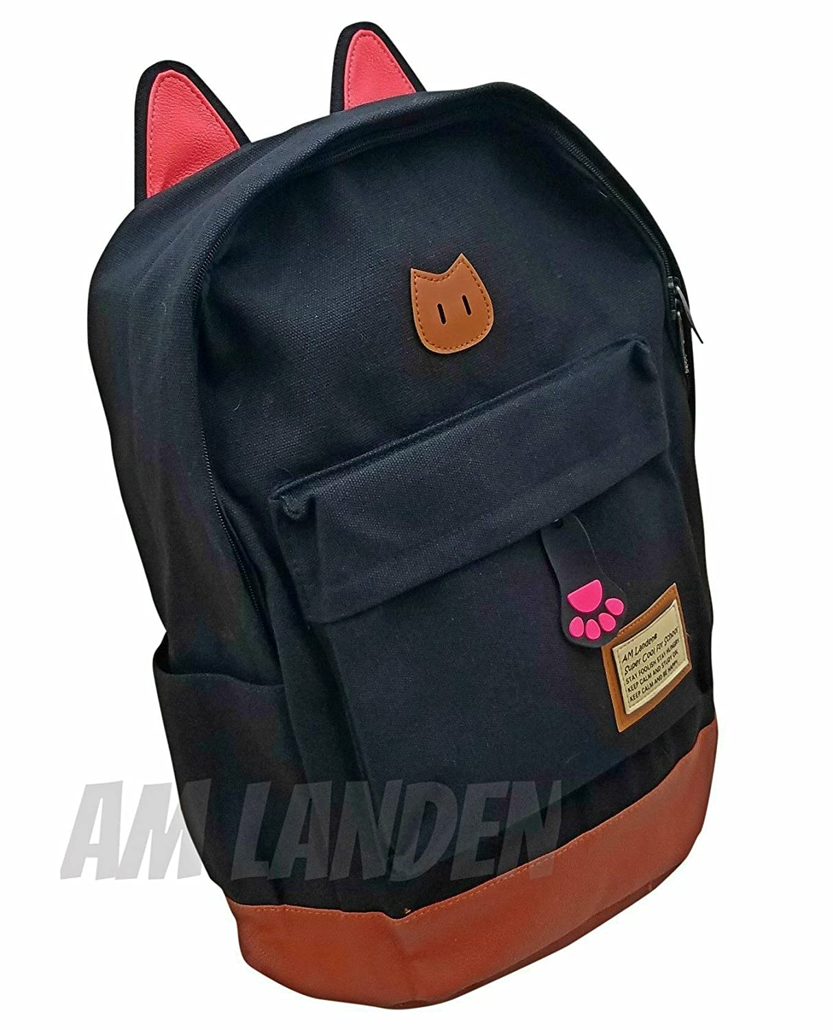 fff105e1b08 Amazon.com   AM Landen CAT Ears Backpack Kid Backpack Travel Daypack  Handbag LARGE SMALL (Large-improved quality with Tablet slot, Large-Black)    Kids  ...
