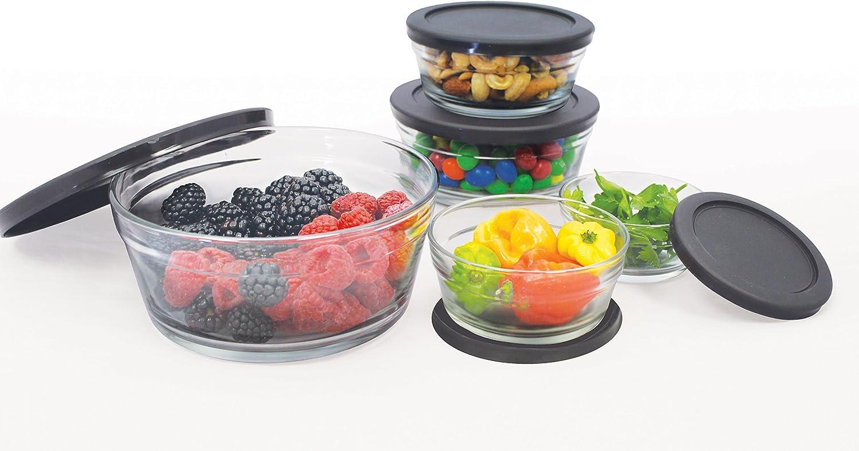 Farberware FG8619 Food Storage Bowl Set with Airtight Lids Black