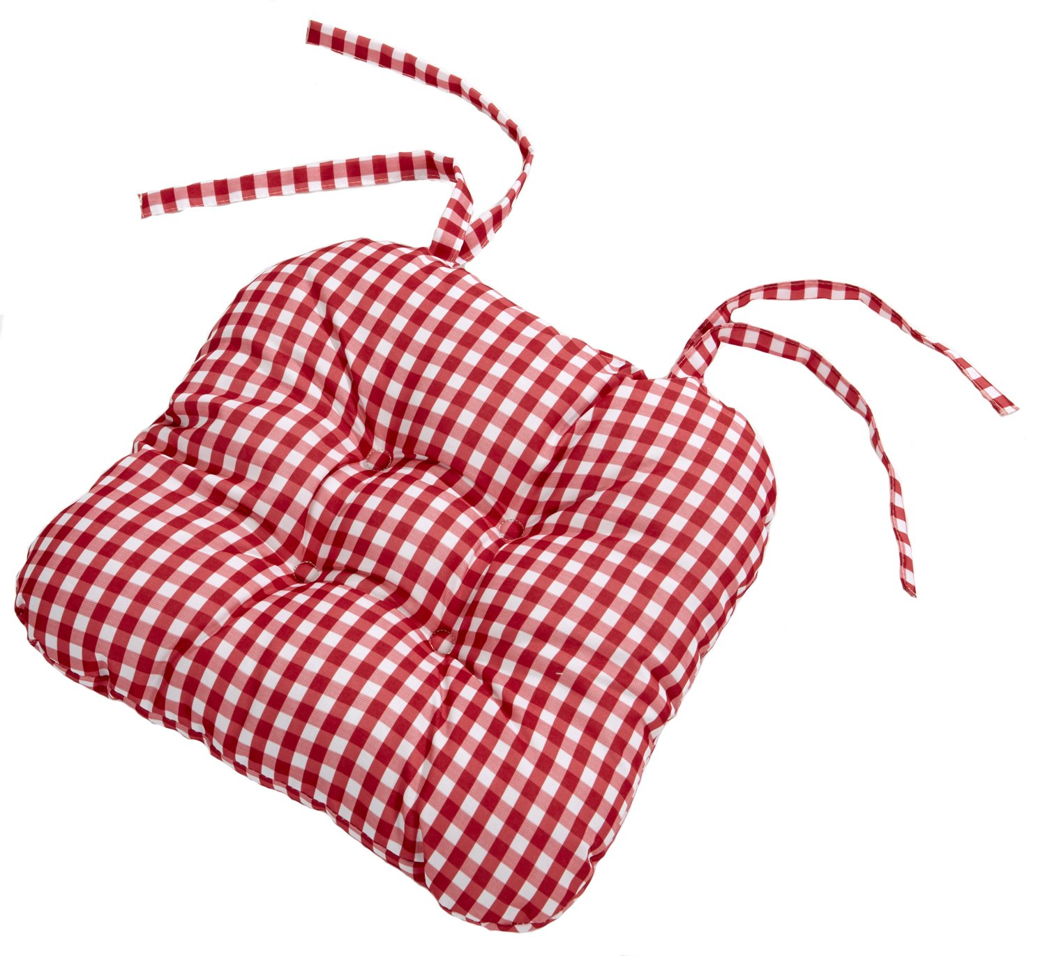 Country Look Cherry Gingham Pack Of 4 Seat Pads (16in x 16in - 40cm x 40cm Approx) 4 Your Home