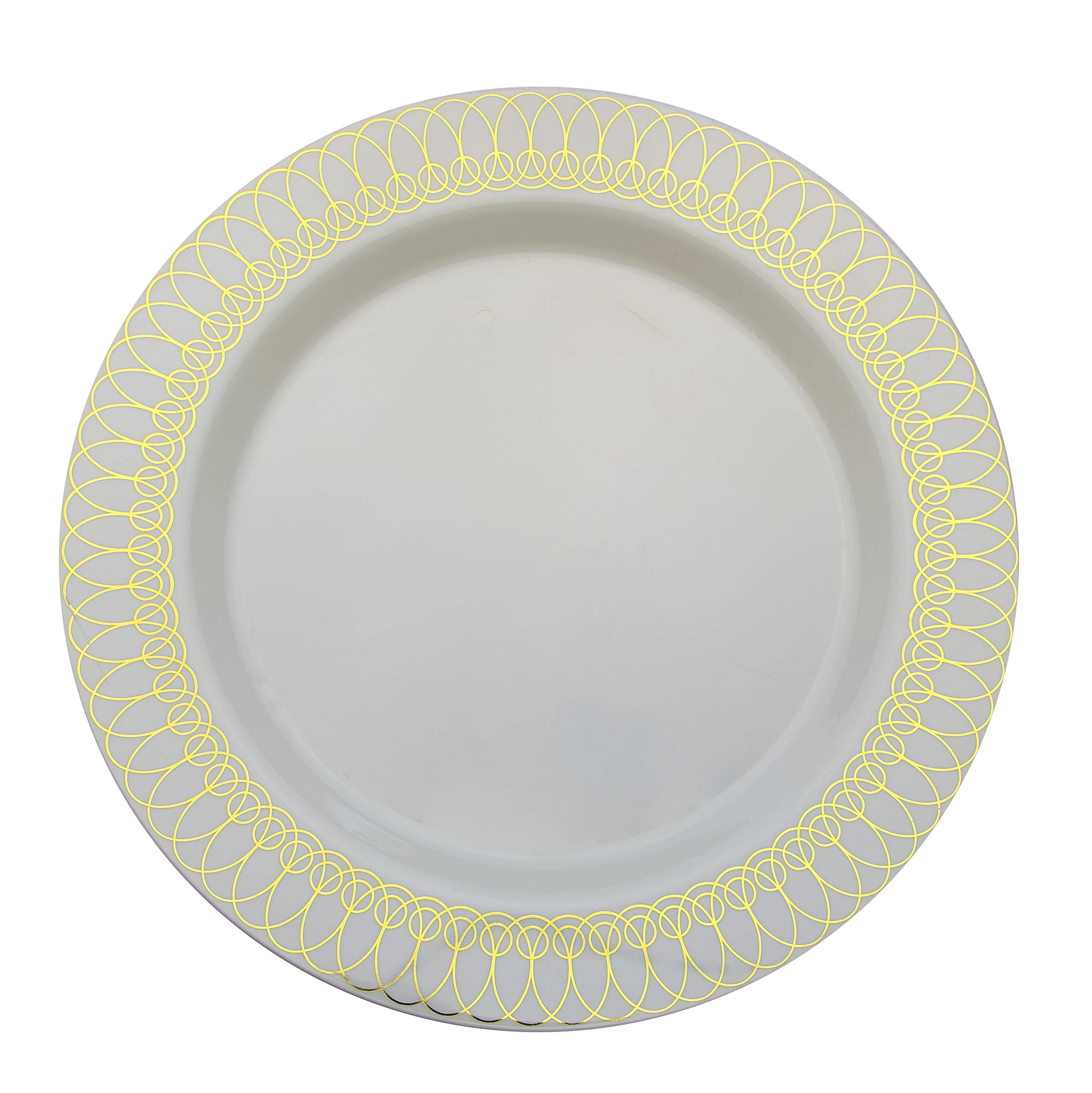 9in. Gold Ovals Design Premium Plastic Wedding Plates (40 Pack) China-Like