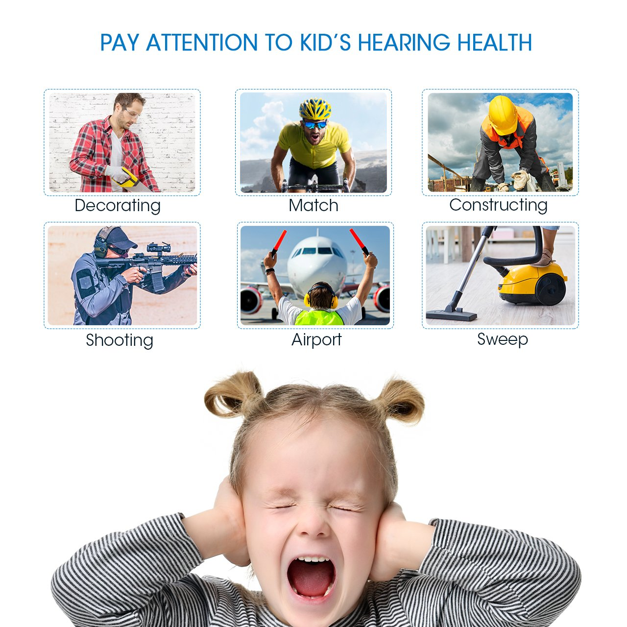 Mpow 068 Kids Ear Protection Safety Ear Muffs, NRR 25dB Noise Reduction Hearing Protection for Kids, Toddler Ear Protection for Shooting Range Hunting Season for Kids Toddlers Children (White) by Mpow (Image #3)