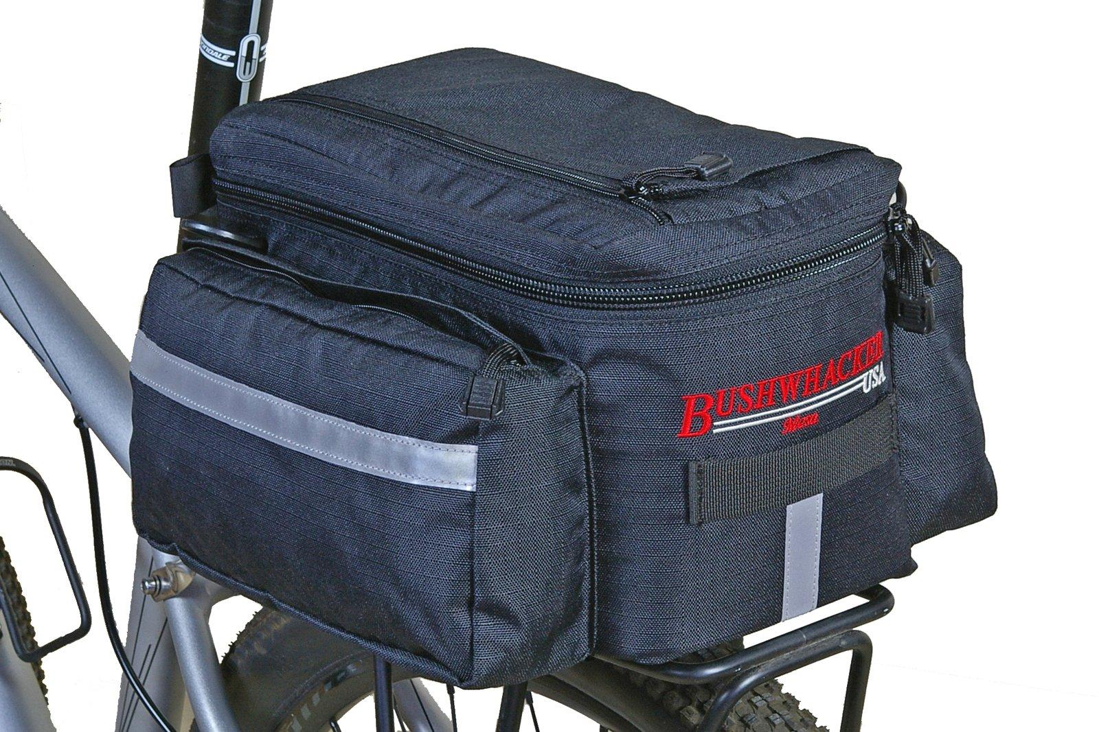 Bushwhacker® Mesa Trunk Bag Black - w/ Rear Light Clip Attachment & Reflective Trim - Bicycle Trunk Bag Cycling Rack Pack Bike Rear Bag