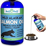 Ruff N Fluff Wild Alaskan Salmon Oil Formula for Dogs and Cats - All-Natural Supports Healthy Joint Function, Immune, & Heart Health - Premium DHA & EPA Omega 3 Blend Food Supplement for Pets