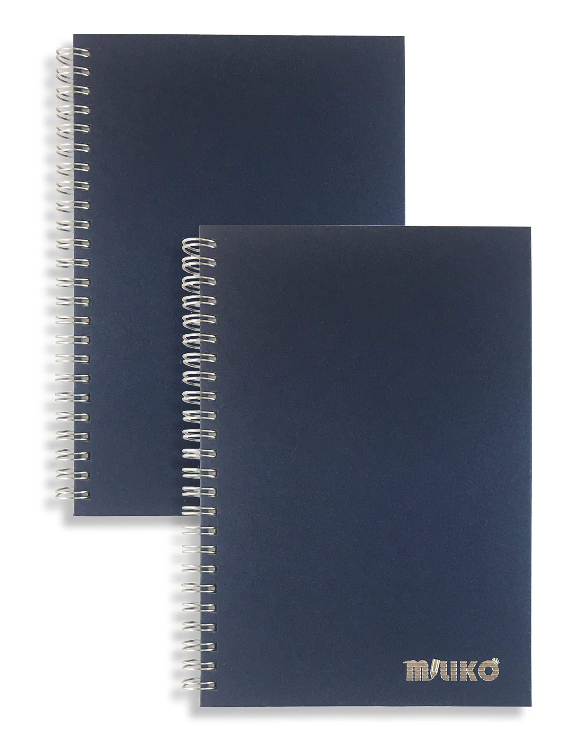 Miliko A5 Size Kraft Paper Hardcover Ruled Wirebound/Spiral Notebook/Journal-2 Notebooks Per Pack-70 Sheets (140 Pages)-8.27'' x 5.67'' (Silver Binding Rings, Blue Ruled)