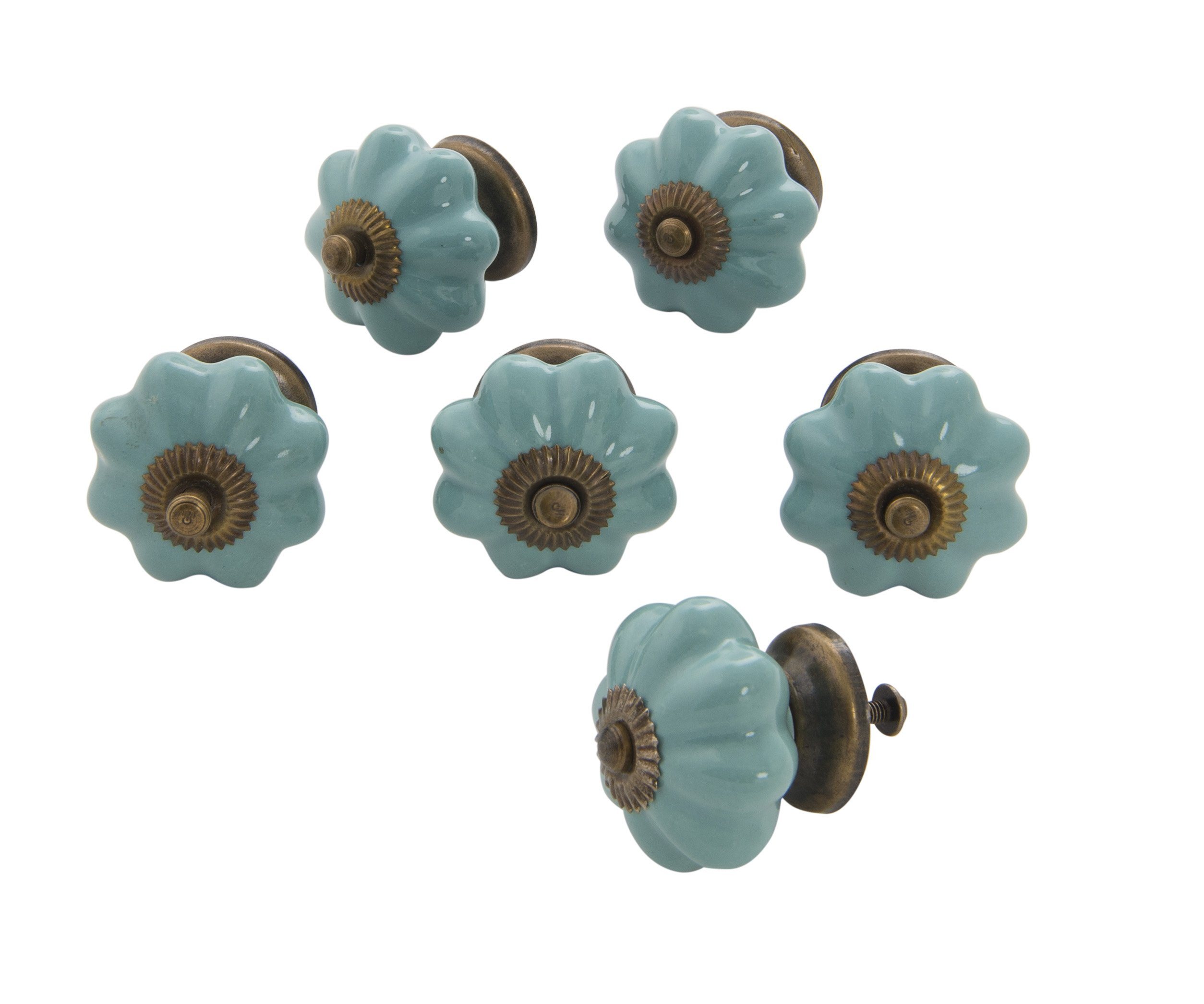 Dritz Home 47043A Ceramic Scallop Knob Handcrafted Knobs for Cabinets & Drawers