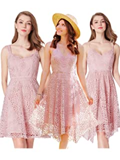 5243e3b0ce99 Ever Pretty Women s Elegant Sleeveless Short Lace Pink Bridesmaid Dresses  04036