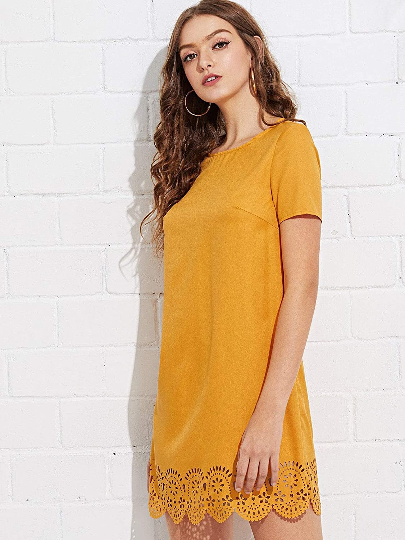 Milumia Womens V Back Fit and Flare Short Sleeve Stretchy Short Swing Mini Basic Dress