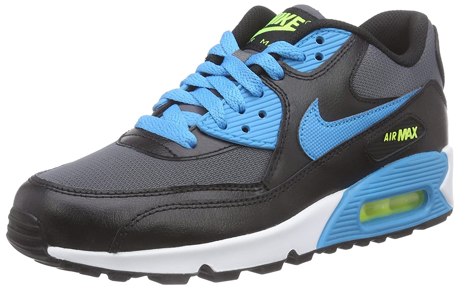 Nike Air Max 90 Mesh (GS) Zapatillas de Running, Niños 38.5 EU|Multicolor (Black/Blue Lagoon-drk Grey-wht)