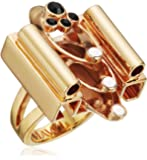 Mawi London Stacked Deco Tube Ring with Crystals