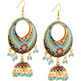 Zephyrr Earrings Lightweight Chandbali Hook with Meenakari and Beads