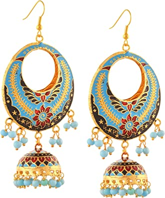 Oreleaa Jewellery Traditional Lightweight Golden Hook Jhumki Earrings with Pearls