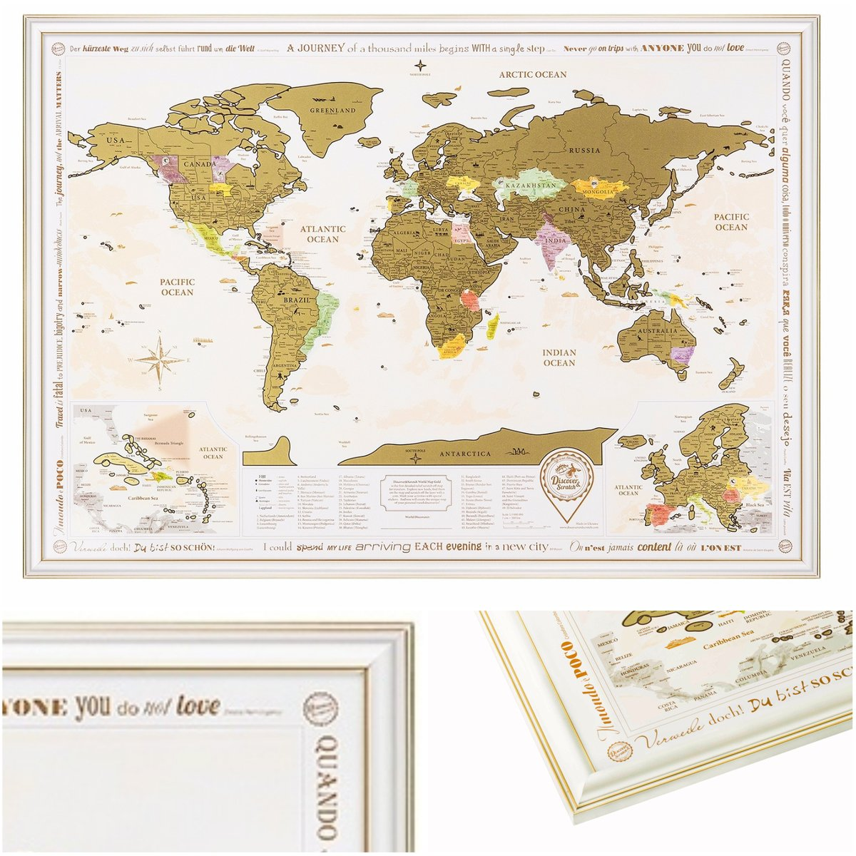 """NEW Framed World Map with Scratch off, Gold Edition! Golden Scratch. Large Size 26x36.2"""". Enlarged Europe and Caribbean Islands. Place for Your Sign. (Map in White-Golden Frame)"""