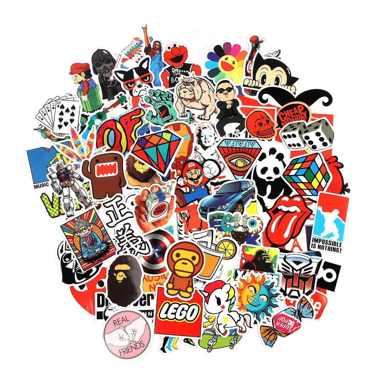 CHNLML Random Sticker 50-900pcs Variety Vinyl Car Sticker Motorcycle Bicycle Luggage Decal Graffiti Patches Skateboard Stickers for Laptop Stickers (200PCS) by CHNLML (Image #2)