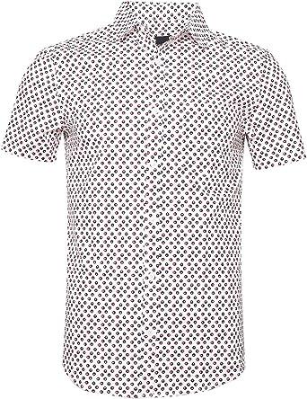 SOOPO Camiseta clásica Estampada de Hombre con Lunares en Manga ...