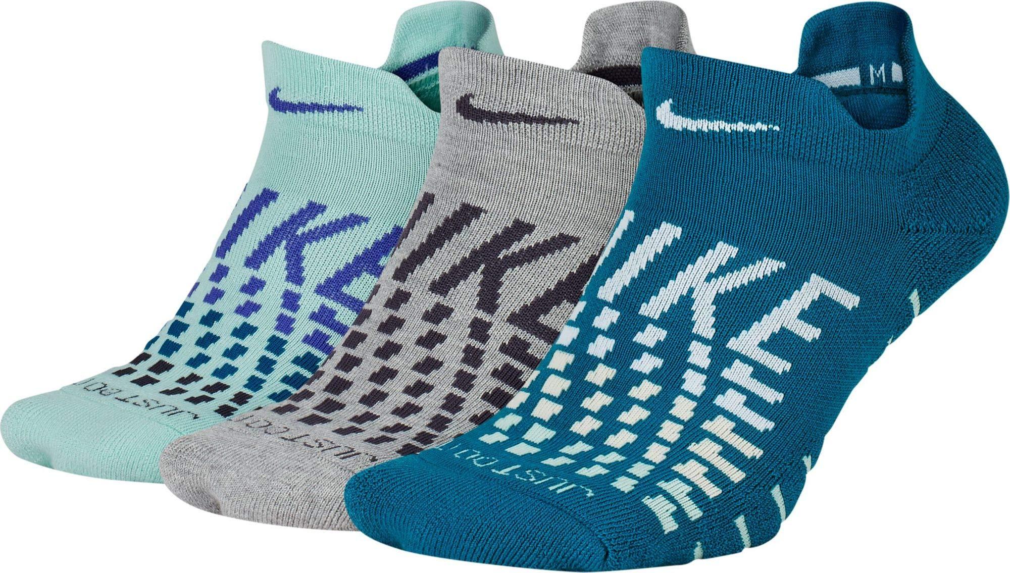 Nike Women`s Dry Cushion Low Training Socks (3 Pair) (Medium, Multi-Color(SX7067-914)/White) by Nike