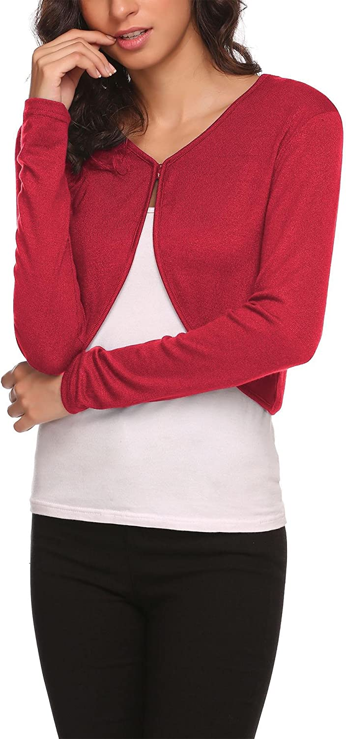 Hotouch Shrug Bolero Cardigan for Womens Long Sleeve Short Little Cropped Sweater Knit Jackets for Dress S-XXL