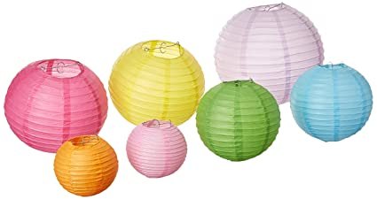 round chinese paper lanterns with led lights assorted colors sizes