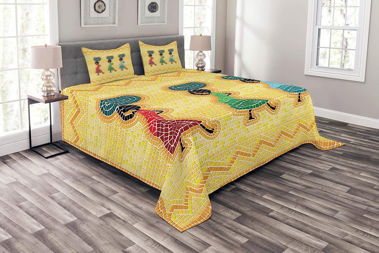 Lunarable African Bedspread, Mosaic Pattern of an Scene Women Carrying Food Basket Traditional, Decorative Quilted 3 Piece Coverlet Set with 2 Pillow Shams, Queen Size, Yellow