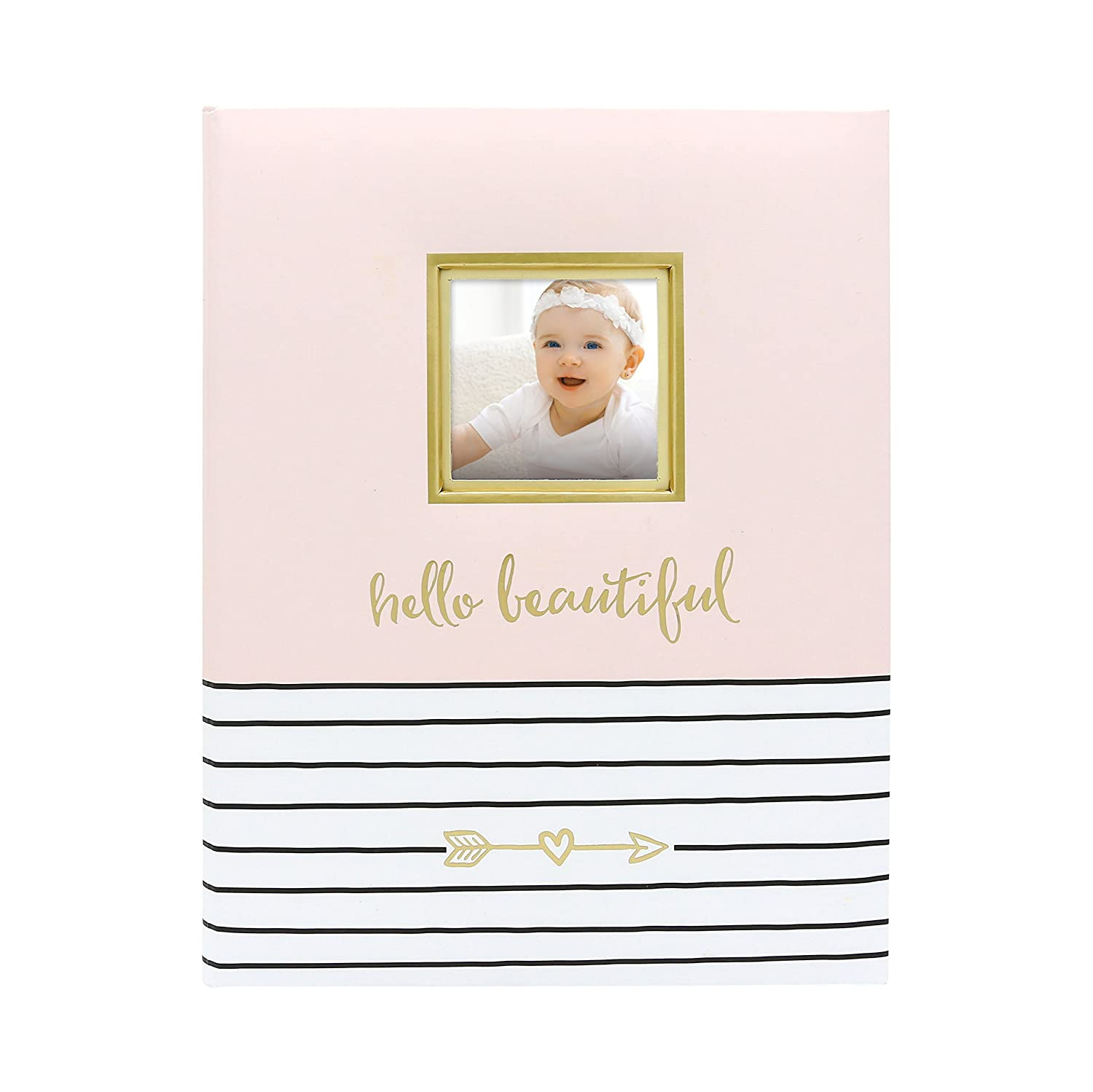 Pearhead Hello Baby, First 5 Years Baby Memory Book with Photo Insert, Gray 73006