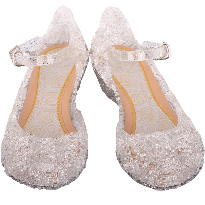 iTvTi Girls Crystal Plastic Shoes Princess Soft Sandal for Toddler Infant Baby Little Kids
