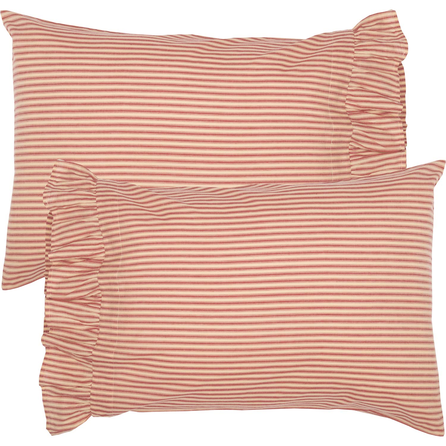 VHC Brands Farmhouse Bedding Sawyer Mill Ticking Cotton Striped Standard Pillow Case Set of 2, Red Country