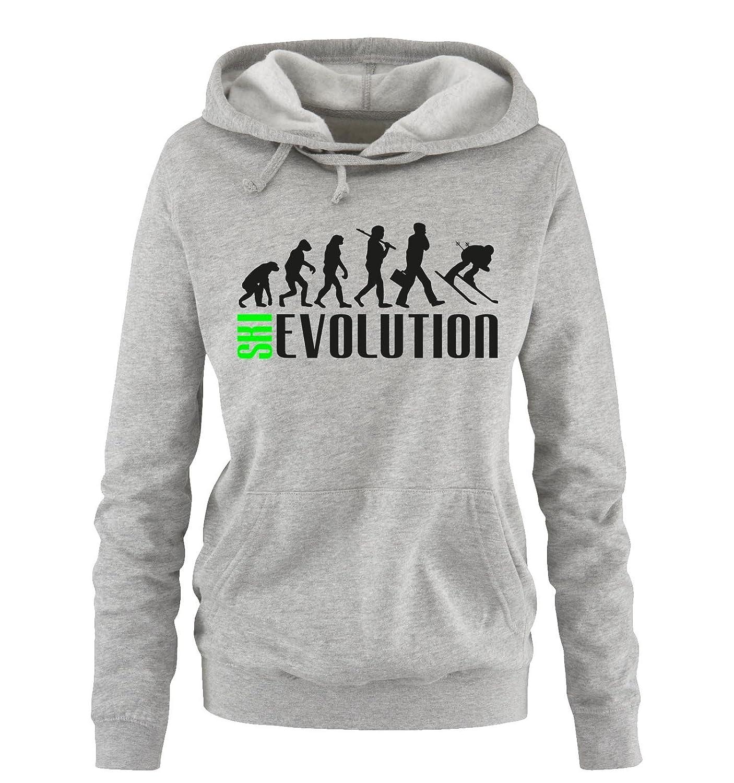 Comedy Shirts - SKI EVOLUTION - Damen Hoodie - Gr. S-XL Versch. Farben
