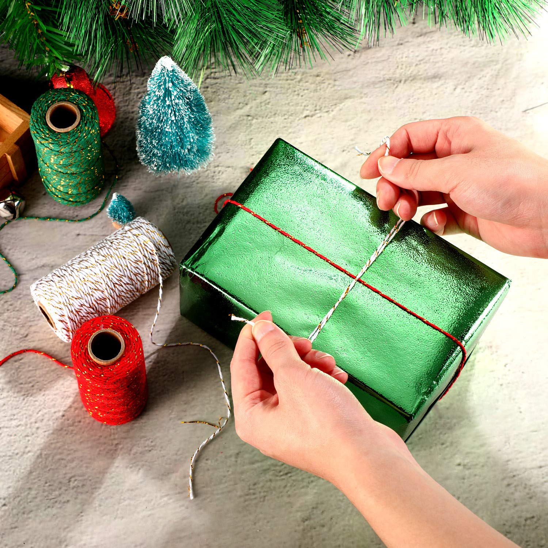 984 Pies de Hilo de Panader/ía Decorativo de Navidad 2 mm de Cordel de Embalaje de Regalo Cuerda de Algod/ón con Alambre Dorado para Decoraciones de Regalo DIY de Navidad