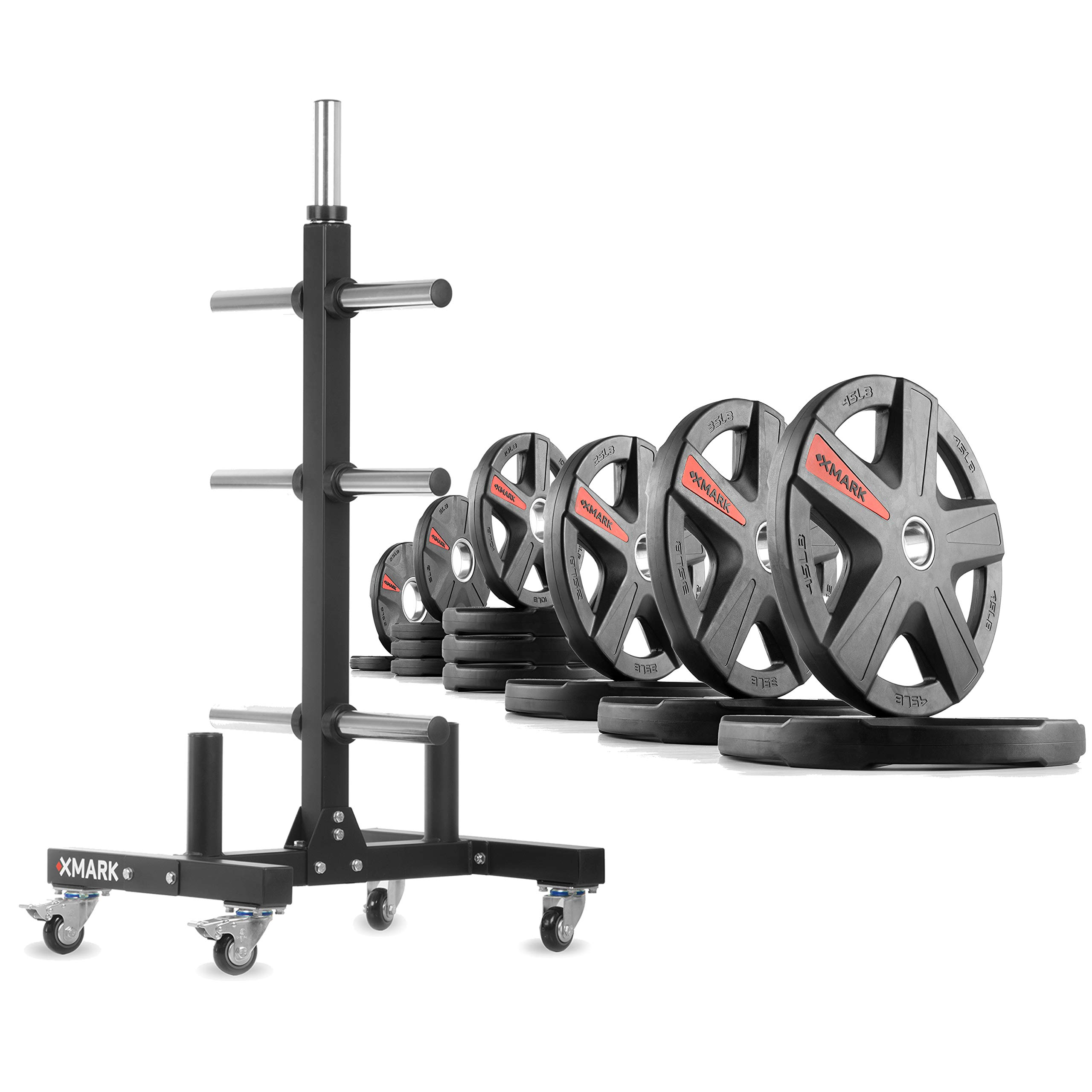 XMark XM-9055 Commerical Olympic Weight Tree Plus a 275 lb Set of Texas Star Olympic Plates by XMark