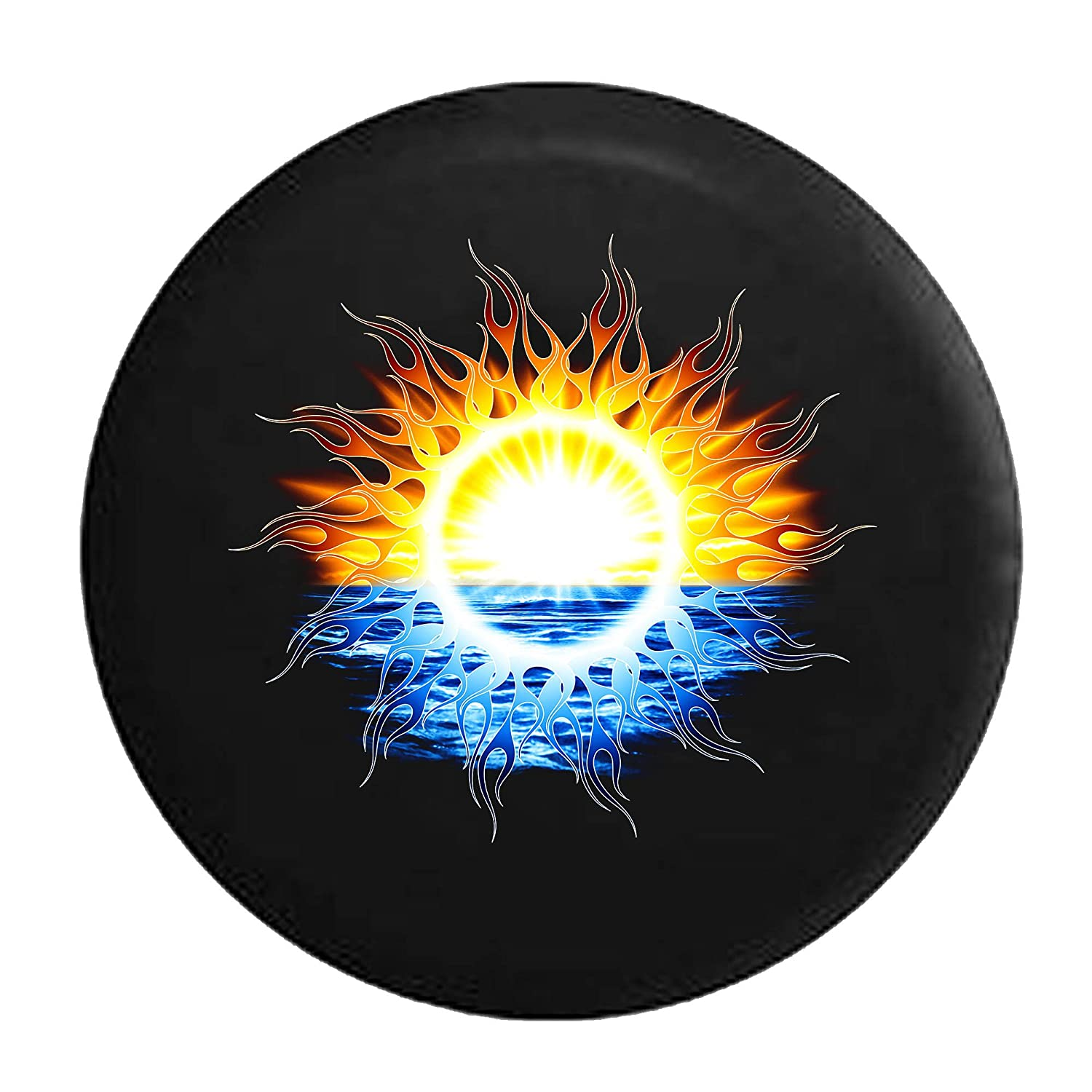 Tribal Sunset Sunrise Waterfront Tire Cover Black 35 in Pike Outdoors