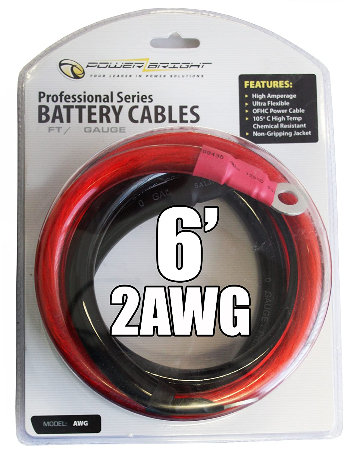 Amazon.com: Power Bright 2-AWG6 2 AWG Gauge 6-Foot Professional ...