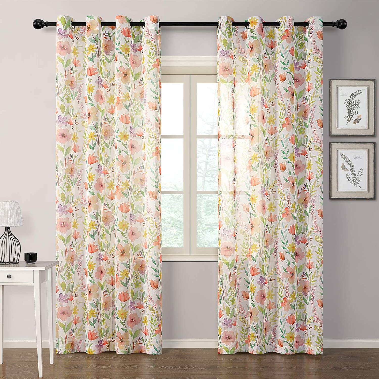 MYSKY HOME Blossom Printed Sheer Curtains 84 inches Long Colorful Living Room Curtains 2 Panel Sets Voile Sheer Curtains for Bedroom, Grommet, 52