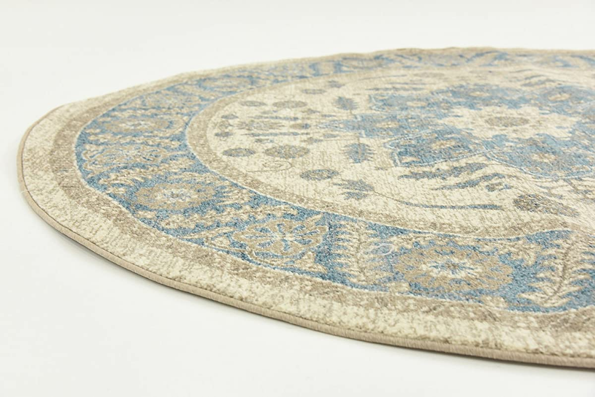 Luxury Vintage Persian Design Heriz Rug Cream 6 x 6 St.George Collection Area Rugs