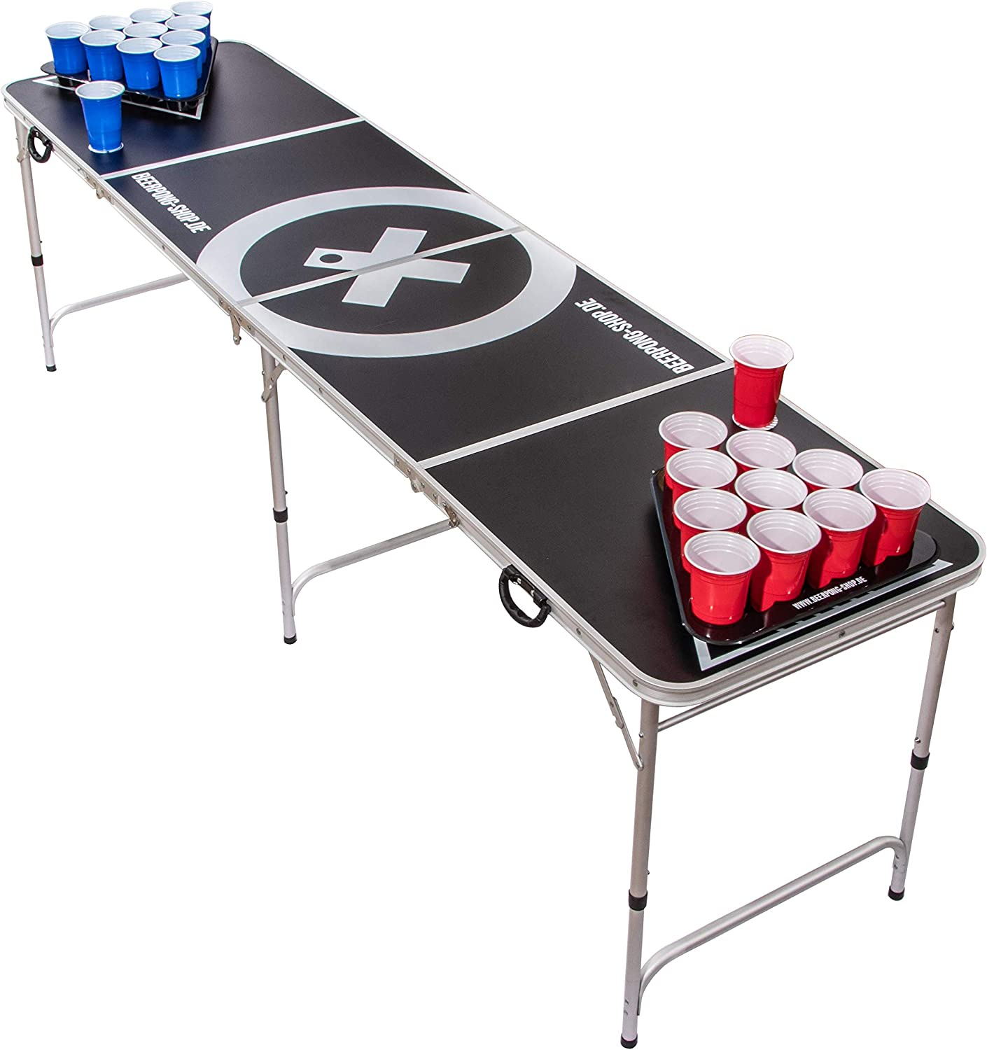 Beer Pong Tisch Set Audio Table inkl. 100 Becher (50 Rot & 50 Blau), 6 Bälle, Regelwerk & 2 Gratis Bier Pong Racks