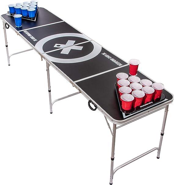 Beer Pong Tisch Set Audio Table inkl. 100 Becher (50 Rot & 50 Blau), 6 Bälle, Regelwerk & 2 Gratis Bier Pong Racks