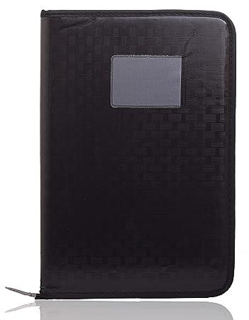 OFIXO File Folder Leatherette Material Professional File Folders for Certificates, Documents Holder, Card Holder, Cheque Book Holder with 20 Leafs (Size-B4, Color:Black) File Folder (Multi-Black)
