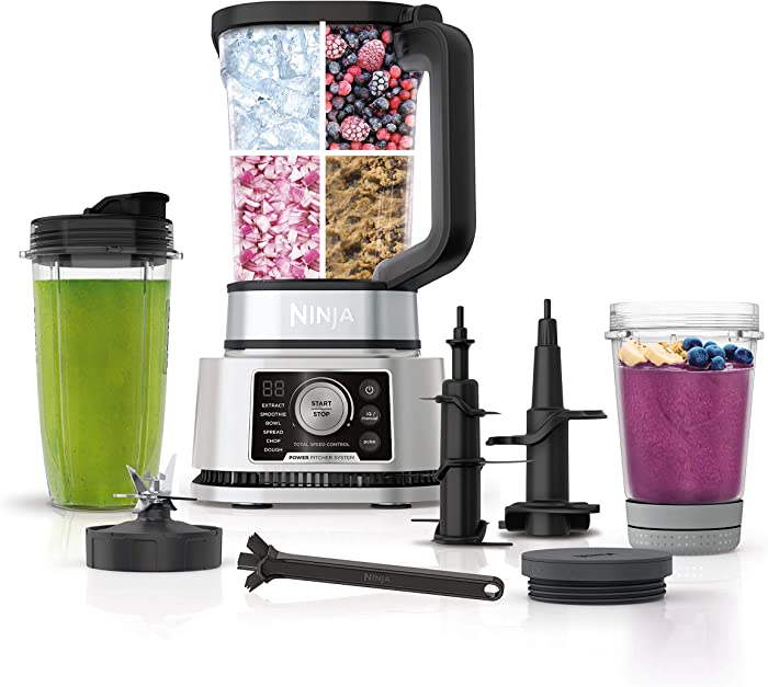 Ninja SS351 Foodi Power Pitcher System, Smoothie Bowl Maker, 4in1 Blender + Food Processor, Single Serve Blender 1400WP smartTORQUE 6 Auto-iQ Presets