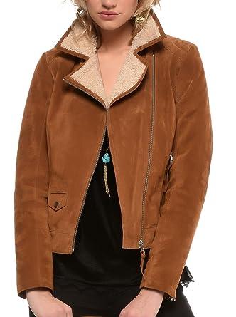 Manteau femme en cuir camel arturo