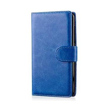 32nd® Funda Flip Carcasa de Piel Tipo Billetera para Samsung Galaxy Core Prime (SM-G360) con Tapa y Cierre Magnético y Tarjetero - Azul