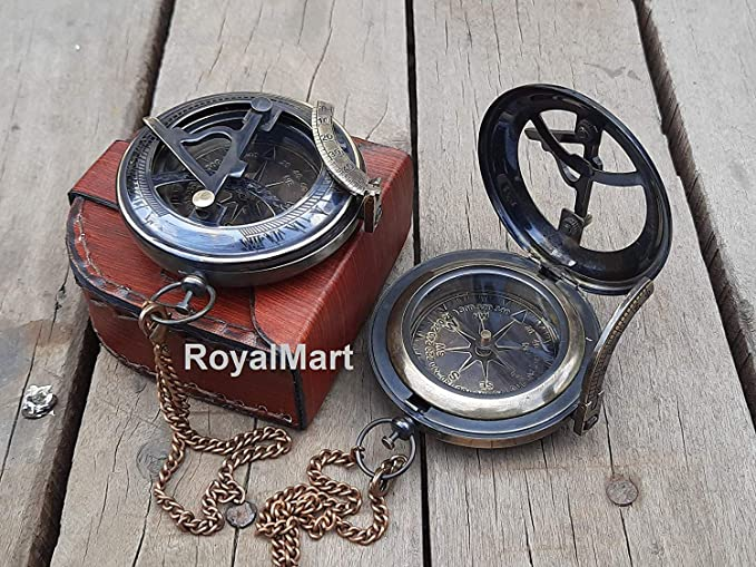Christmas Gift Working Compass Brass Personalized Engraved Compass