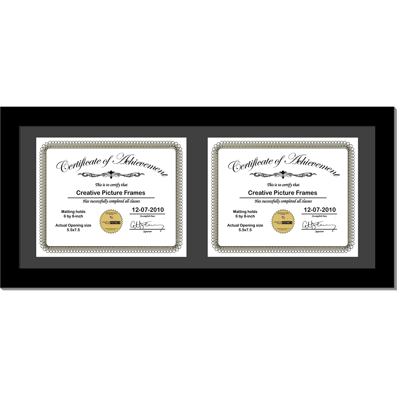 CreativePF [8x18bk-b] Black Horizontal Double Diploma Frame with 2 Opening Black Matting | Holds 2-6x8-inch Documents with Installed Wall Hanger Creative Picture Frames 6x8-2h-10x16bk-b