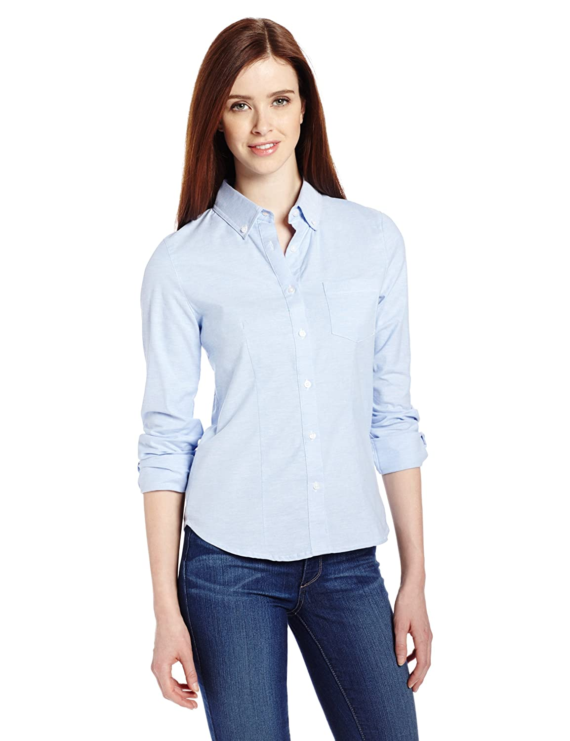 Amazon.com: Lee Uniforms Juniors' Long-Sleeve Oxford Blouse ...