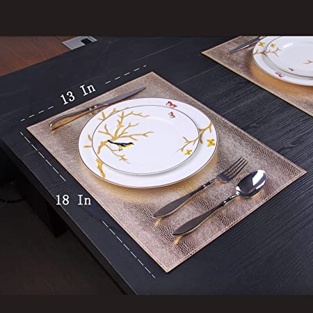 4//Pack Anti-Skid//Heat Insulation//Stain Resistant Table Placemat Table Mat Kitchen Hotel Rectangle, Gold JINHAICHU PU Placemats for Dinner Table Club