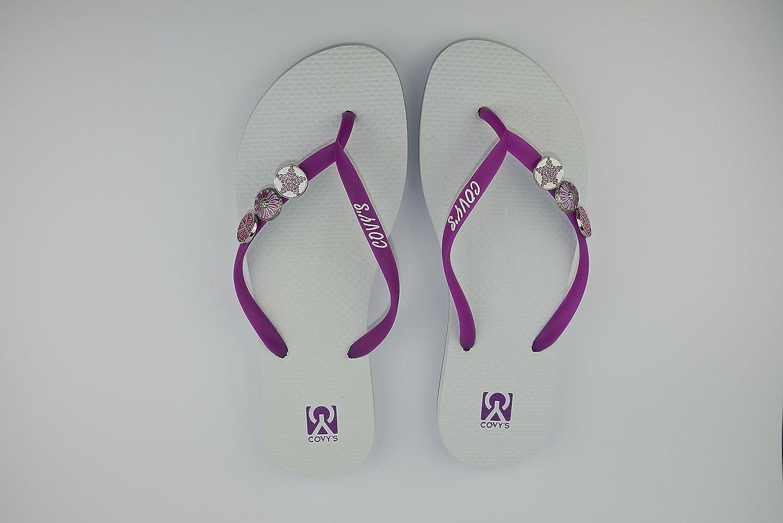 COVY'S jandals purple/white #5109 women (Zehentrenner, Sandale, DIY, Pins)