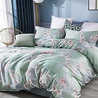 Softta Twin XL College Bedding Sets 3Pcs Flower Duvet Cover Green 100% Egyptian Cotton 800 Thread Count Ties Zipper…