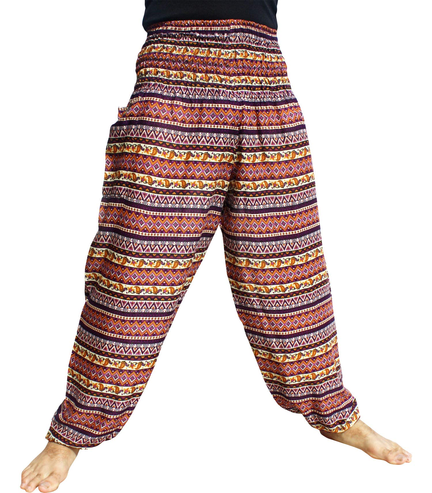 RaanPahMuang Brand Smock Waist Rayon Mixed Art Harem Baggy Aladdin Pants, Large, Zigzag Art - Purple by RaanPahMuang